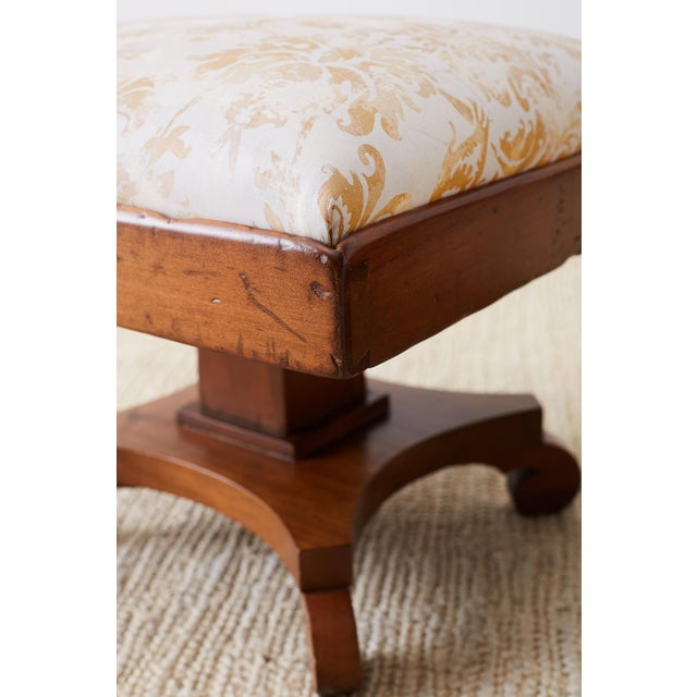 Pair of Biedermeier Carved Footstools With Fortuny Upholstery For Sale In San Francisco - Image 6 of 13