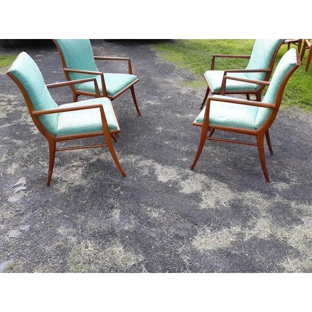 Brown Vintage Mid Century T.H. Robsjohn Gibbings for Widdicomb Saber Leg Armchairs- Set of 4 For Sale - Image 8 of 13