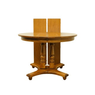 "20th Century Early American Tell City Furniture Colonial Style Maple 64"" Double Pedestal Dining Table For Sale"