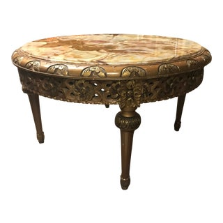Vintage French Marble Top Coffee Table For Sale