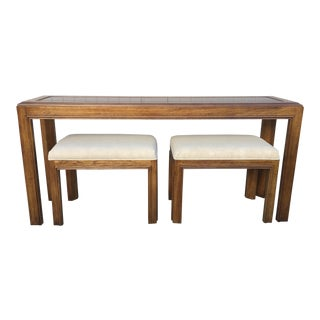 1980s Vintage Drexel Heritage Console Table & Bench Seats - 3 Pieces