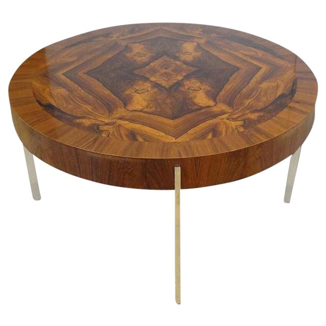 Modernist Round Cocktail Table in Walnut and Chrome, France Circa 1965 For Sale
