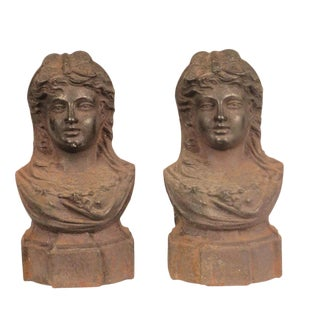 19th Century French Female Bust Andirons - a Pair For Sale