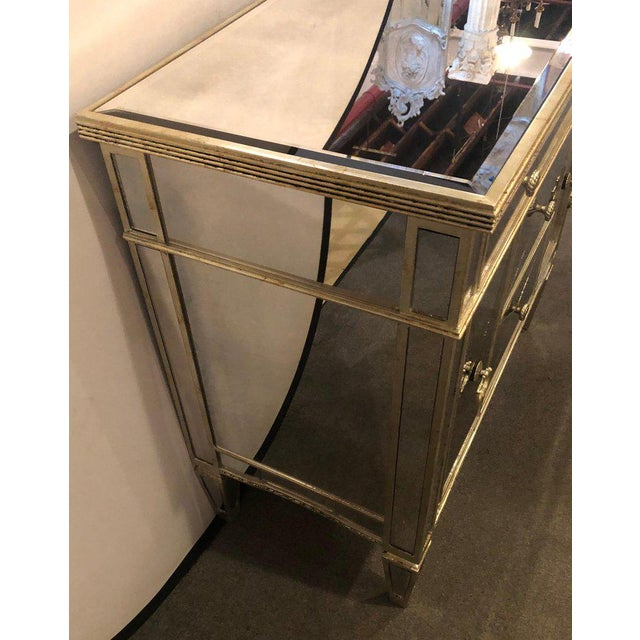 Glass Mirrored Hollywood Regency Style Large Nightstand or Commode For Sale - Image 7 of 11