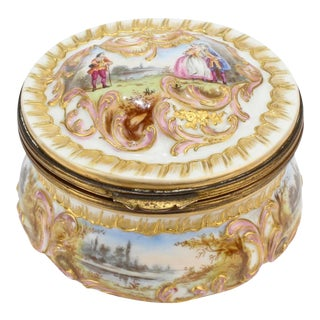 Antique Gilt Paris Porcelain Table Snuff Box or Round Casket by Bloch & Bourdois For Sale