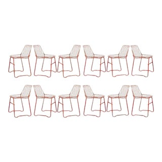 French Early 20th Century Painted Garden Chairs - Set of 10 For Sale