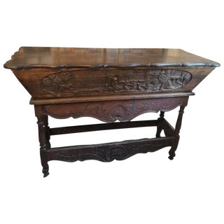 Antique French Provincial Carved Wood Bread Making Console Table For Sale