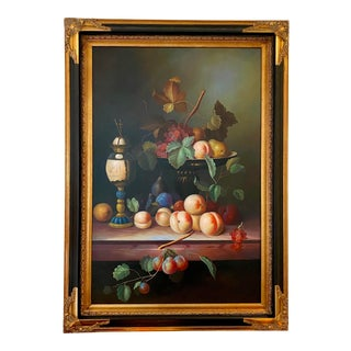 Late 20th Century Fruit Still Life Oil Painting, Framed For Sale