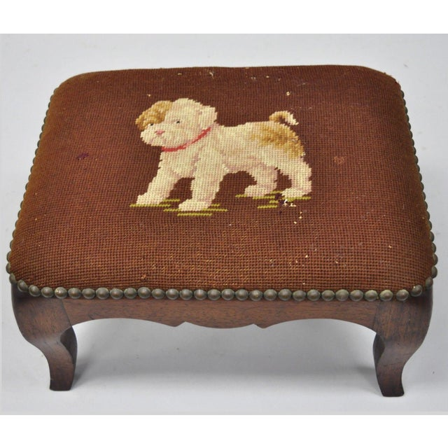 Antique Victorian Small Puppy Dog Needlepoint Petite Stool For Sale - Image 10 of 10