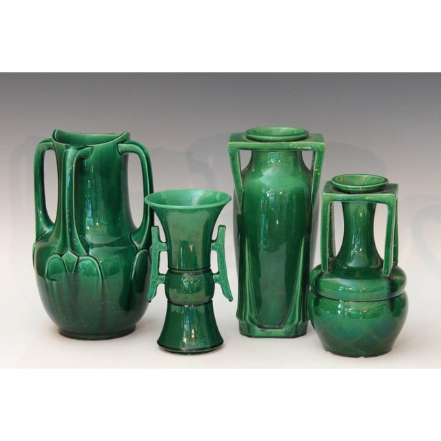 Green Awaji Pottery Art Nouveau Four Handle Buttress Vase For Sale - Image 8 of 9