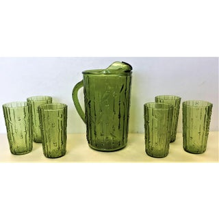 Mid 20th Century Vintage Anchor Hocking Tahiti Bamboo Avocado Green Glass Pitcher & 6 Tumblers - Set of 7 Preview
