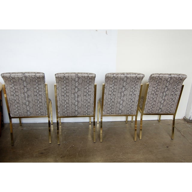 Python & Brass Vintage Dining Chairs - Set of 4 - Image 8 of 11