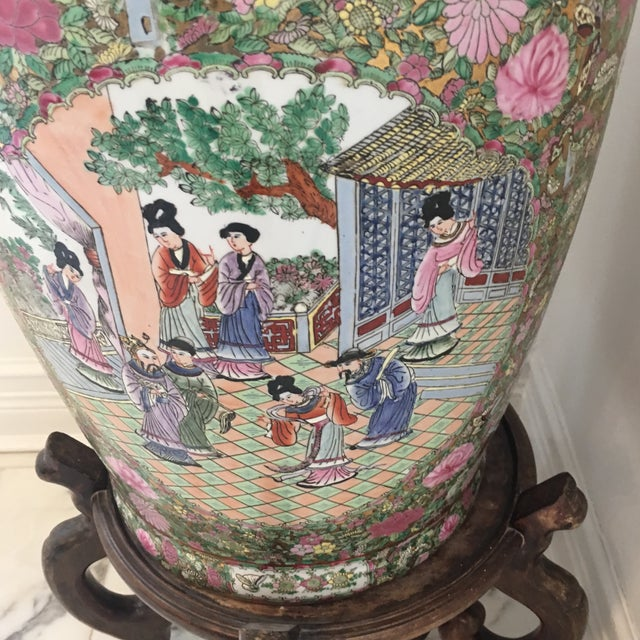 Chinese Famille Rose Ceramic Floor Vase With Stand Chairish