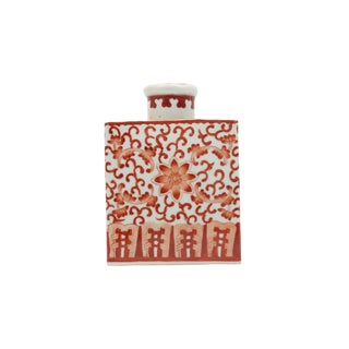Chinese Orange and White Porcelain Tea Caddy Jar For Sale