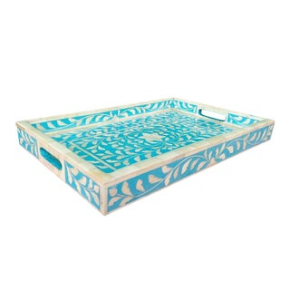 Blue Floral Bone Inlay Serving Tray For Sale