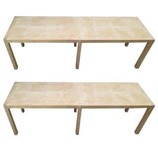 Cerused-Oak Parquetry Benches - a Pair For Sale