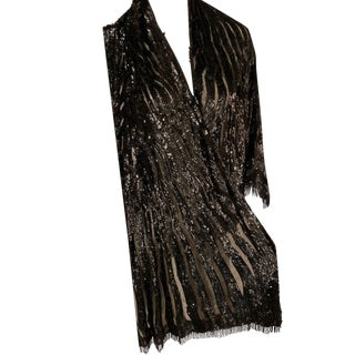 1920's Shawl Black Sequins on Black Tulle With Black Beaded Fringe For Sale