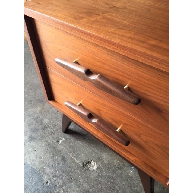 Mid-Century Sculpted Handle Nightstands - A Pair - Image 5 of 6