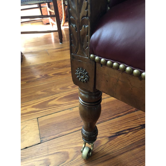 19th Century Empire Mahogany Library Chair on Brass Casters For Sale In New York - Image 6 of 11