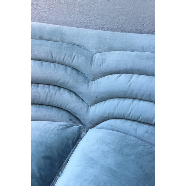 Blue Italian Loveseat by Andrea Busiri Vici For Sale - Image 8 of 10