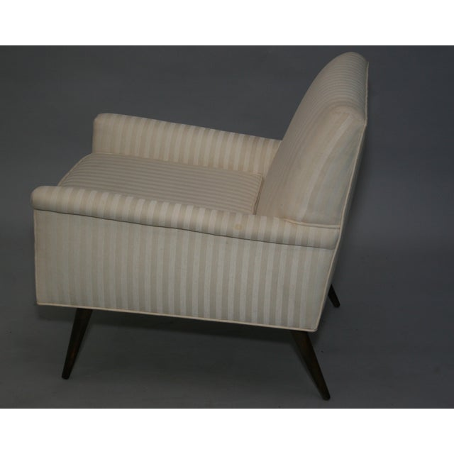 Mid-Century Modern Ivory Stripe Lounge Chair - Image 3 of 8