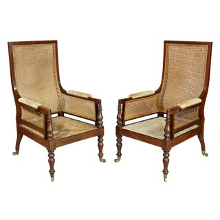 Late Regency Mahogany and Caned Armchairs - a Pair For Sale