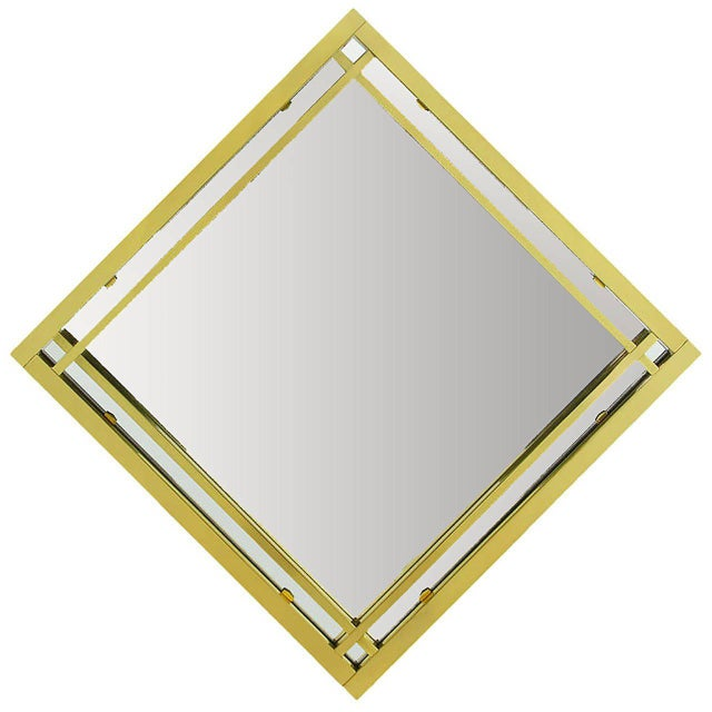 1970s Brass Double Framed Mirror in the Style of Pierre Cardin For Sale - Image 5 of 5