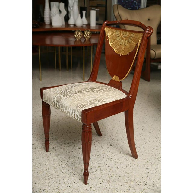 Art Deco Set of Four Art Deco Side Chairs by Pierre Lahalle, France For Sale - Image 3 of 9
