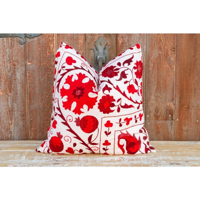 Rakti Royal Red Suzani Pillow For Sale - Image 9 of 10