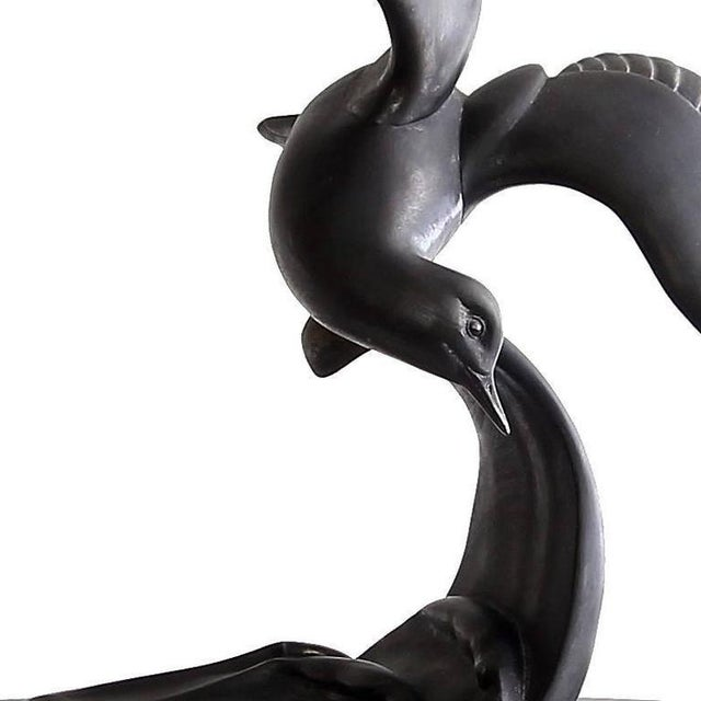 Art Deco Vintage Mid-Century Art Deco Style Bronzed Spelter Seagull Sculpture For Sale - Image 3 of 6