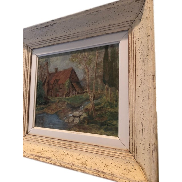 French Vintage French Oil Painting Landscape Thatched Roof Cottage For Sale - Image 3 of 7