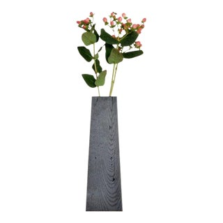 Ozshop Ebonized Tapered Oak Vase For Sale