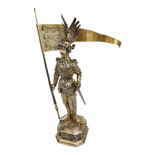 19th Century Sterling & Vermeil Silver Knight W/ Staff Flag, Germany For Sale
