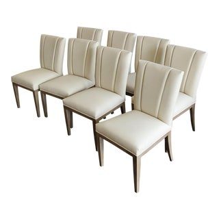 Henredon Furniture Barbara Barry Gray Palay Taupe Leather Dining Chair - Set of 8 For Sale