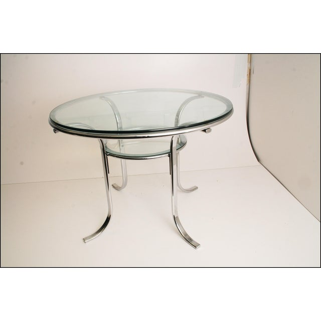Mid-Century Modern Chrome & Glass Dining Table - Image 2 of 11