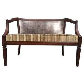 1940s Antique Mahogany and Rattan Back Paneled Settee For Sale