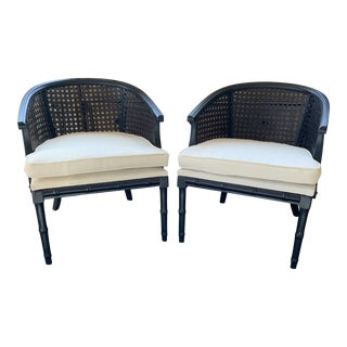 Cane Barrel Back Chairs- A Pair For Sale