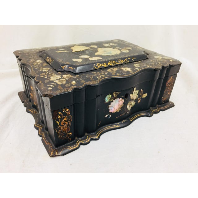 Wood Antique Mother of Pearl Chinoiserie Box For Sale - Image 7 of 11