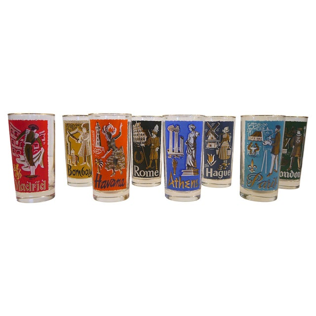 Style up your bar with this colorful set of eight cities of the world glass tumblers. Made in the late 50's or early 60's...
