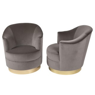 1980s Karl Springer Swivel Armchairs With Polished Brass Bases - a Pair For Sale