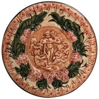 19th Century Spanish Terracotta Relief Dish With Cherubs & Flowers 10' For Sale