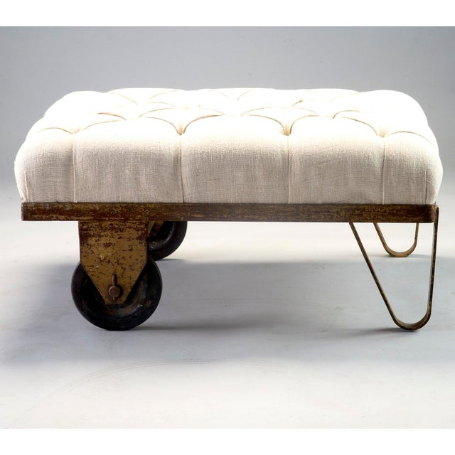 1930s Tufted Ottoman Bench Stool with Industrial Wheelbarrow Base For Sale - Image 13 of 13