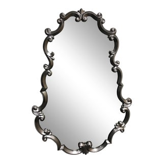 Horchow Oval Draped Pewter Finish Wall Mirror For Sale