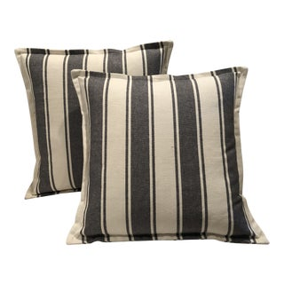 Wide Stripe Black and White Ticking Pillows - A Pair For Sale