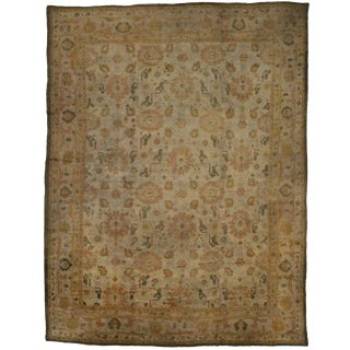 Antique Turkish Oushak Angora Wool Oversize Rug, 15'08 X 20'04