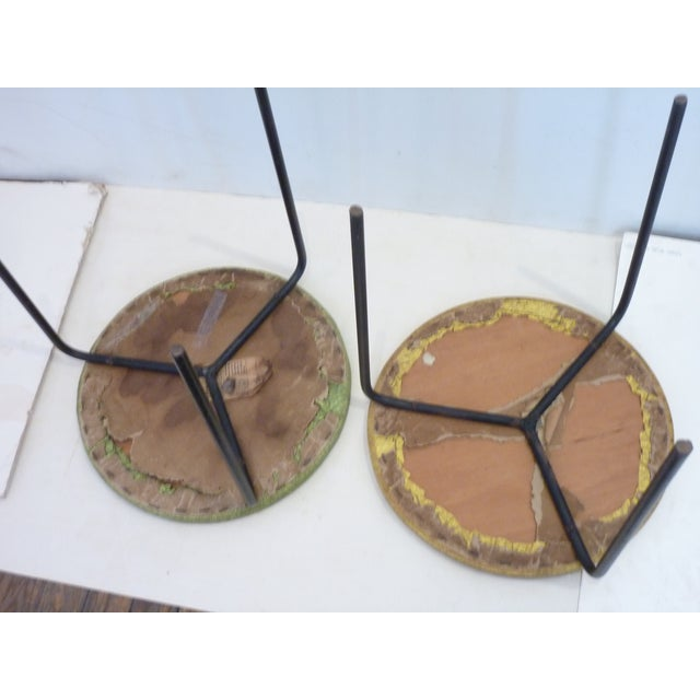 Mid 20th Century 1950's Modern Iron Tripod Stools - A Pair For Sale - Image 5 of 6
