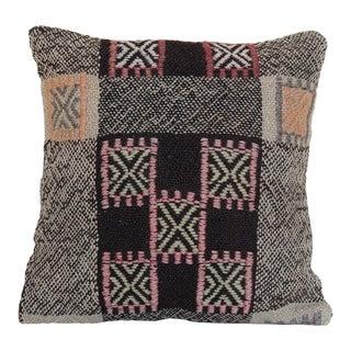 Turkish Vintage Handmade Wool Kilim Pillowcase For Sale