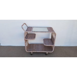 1970s Mid-Century Modern Tropical Chic Tree Tier Wicker Bar Cart Preview