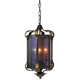 Black and Gold With Multi Color Glass Three Cluster Iron Pendant Light