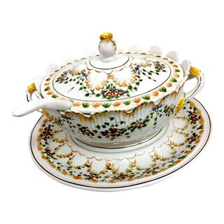 1940s Italian Floral Pattern Soup Tureen & Ladle For Sale